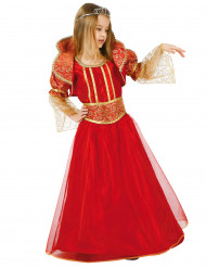Disfraz de reina medieval rojo y dorado para niña