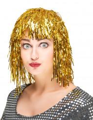 Peluca metálica dorada para mujer