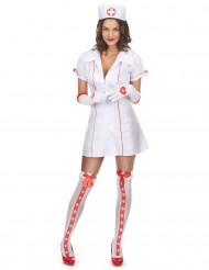 Disfraz de enfermera sexy rojo y blanco para mujer