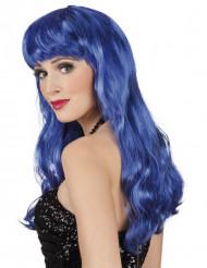 Peluca larga azul para mujer
