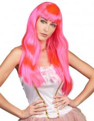 Peluca larga rosa fluorescente para mujer