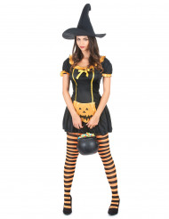 Disfraz de bruja calabaza para mujer, ideal para Halloween