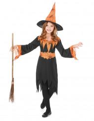Disfraz naranja de bruja para niña, ideal para Halloween
