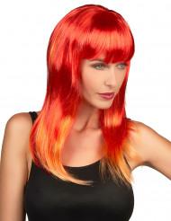 Peluca larga con cabello rojo para mujer