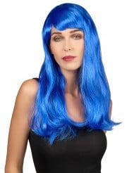 Peluca larga azul con flequillo para mujer