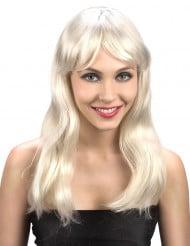 Peluca rubia con cabello largo, para mujer
