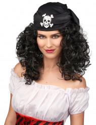 Peluca morena de pirata para mujer