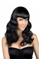 Peluca negra con flequillo para mujer ideal Halloween