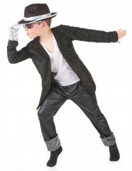Disfraz negro de estrella del pop para niño
