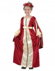 Disfraz de reina medieval niña rojo y dorado
