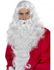 Peluca y barba de Papá Noel para adulto
