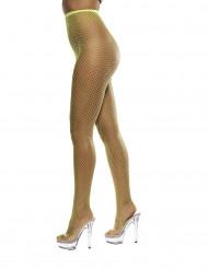 Pantys de rejilla color amarillo fluorescente para mujer