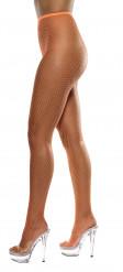 Pantys de rejilla color naranja fluorescente para mujer