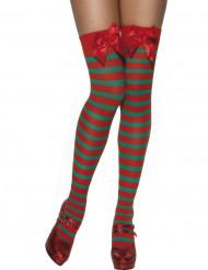 Medias a rayas de duende de Navidad para mujer