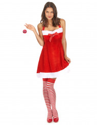 Disfraz de Mamá Noel sexy para mujer con lazo