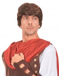 Peluca color castaño de soldado romano para hombre