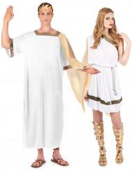Disfraz de pareja de romanos hombre y mujer
