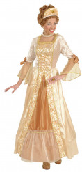 Vestido dorado de princesa para mujer
