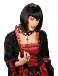Peluca negra gótica para mujer