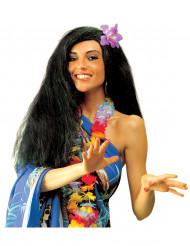 Peluca hawaiana negra para mujer