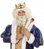 Peluca blanca de rey para hombre