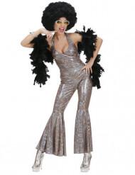 Disfraz plateado estilo disco para mujer