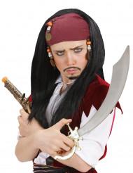 Peluca de pirata negro para hombre