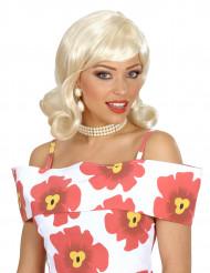 Peluca rubia estilo años 50 para mujer