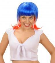 Peluca con los colores de Francia para mujer