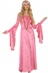 Disfraz medieval rosa para mujer