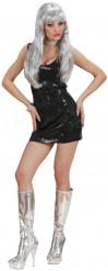 Disfraz de vestido negro estilo disco para mujer