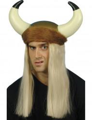 Casco de vikingo con pelo para adulto