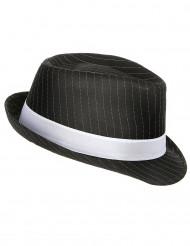 Sombrero negro de gánster con banda blanca