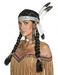 Peluca de india para mujer con plumas
