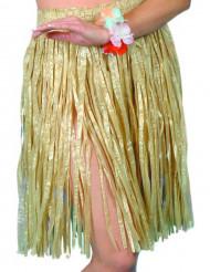 Falda hawaiana color natural para mujer