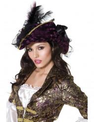 Sombrero violeta de pirata para mujer
