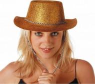 Sombrero dorado de vaquera con lentejuelas