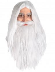Peluca y barba de Gandalf de El Señor de los Anillos™ para hombre