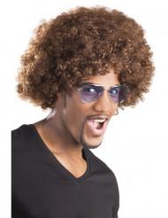 Peluca afro / payaso marrón volumen adulto