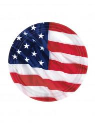 Miniplatos con la bandera de EE.UU.