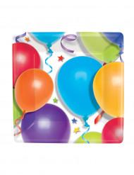 Miniplatos cuadrados con dibujos de globos