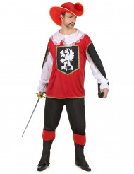 Disfraz de mosquetero para hombre rojo