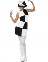 Disfraz disco para mujer blanco y negro