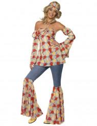Disfraz de hippie años 70 para mujer
