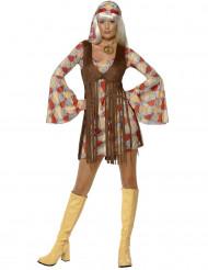 Disfraz de hippie años 70 flequillos para mujer