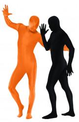 Disfraz de segunda piel color naranja y negro para pareja