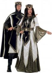 Disfraz de pareja medieval de las cruzadas de lujo