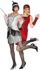 Disfraz rojo y plateado de pareja de charlestón