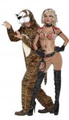Disfraz de pareja de domadora de tigres y su animal