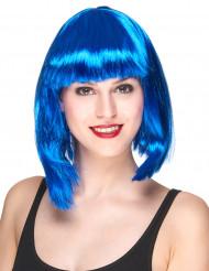 Peluca corta color azul mujer